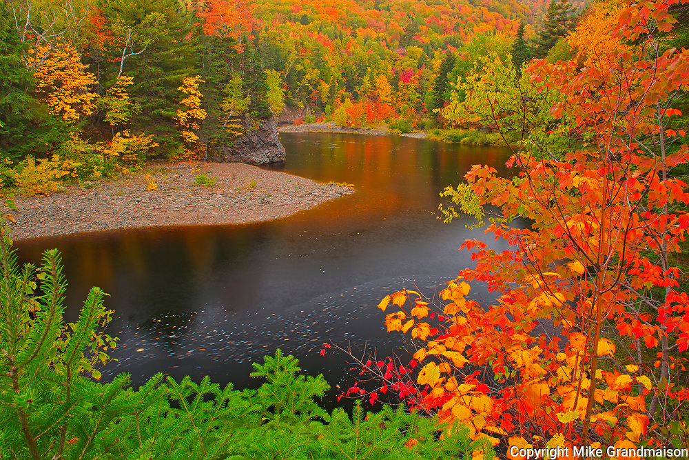 Indian Brook and the Acadian forest in autumn foliage <br />