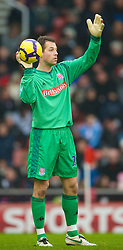 STOKE, ENGLAND - Saturday, January 16, 2010: Stoke City's goalkeeper Thomas Sorensen during the Premiership match at the Britannia Stadium. (Photo by David Rawcliffe/Propaganda)