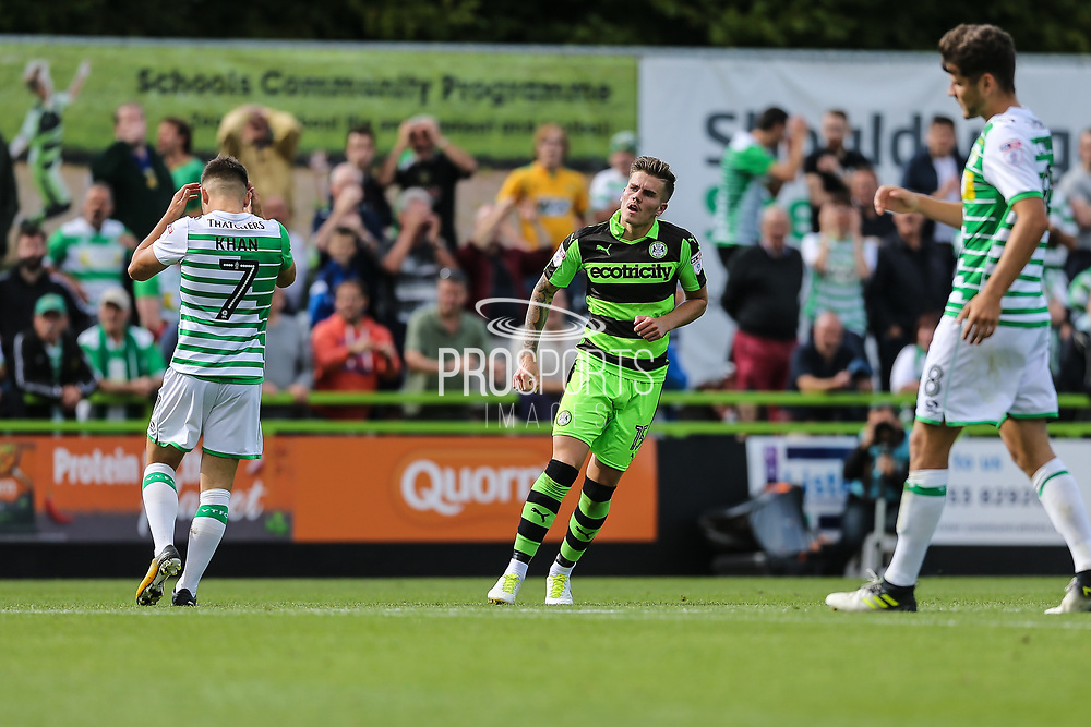 Forest Green Rovers Charlie Cooper(15) scores his first goal for Forest Green during the EFL Sky Bet League 2 match between Forest Green Rovers and Yeovil Town at the New Lawn, Forest Green, United Kingdom on 19 August 2017. Photo by Shane Healey.