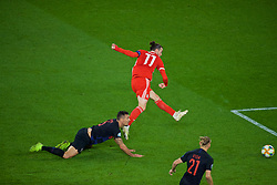 CARDIFF, WALES - Sunday, October 13, 2019: Wales' captain Gareth Bale scores the equalising goal during the UEFA Euro 2020 Qualifying Group E match between Wales and Croatia at the Cardiff City Stadium. The game ended in a 1-1 draw. (Pic by Paul Greenwood/Propaganda)