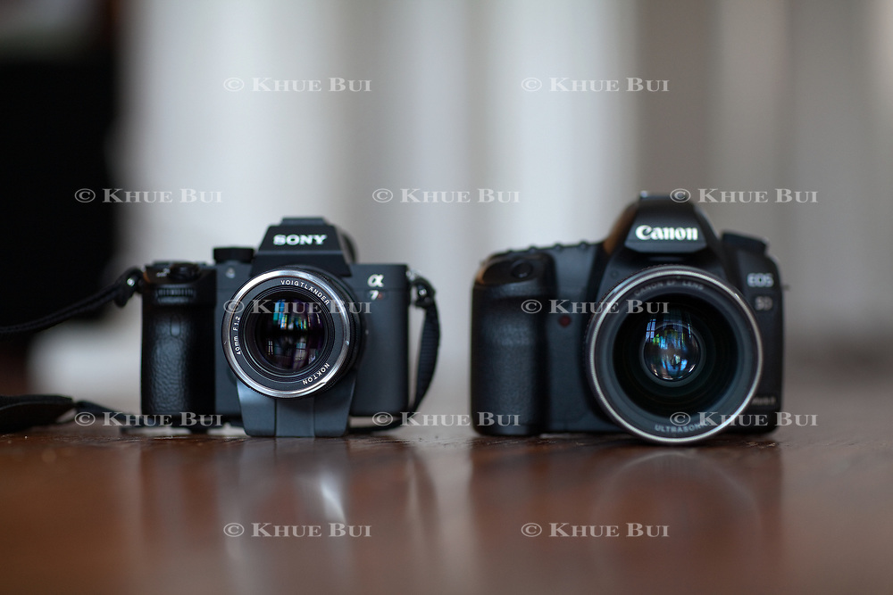 Right, Canon 5D Mark II with EOS 35mm f/1.4 Mark I and Sony A7R III with Voigtlander 40mm f/1.2 M-mount and Teacart adapter are shown Friday, January 19, 2018, in Richmond, VA.<br /> <br /> Photo by Khue Bui