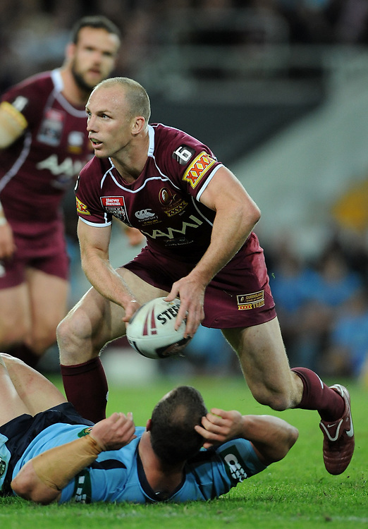 May 25th 2011: Darren Lockyer of the Maroons passes the ball during game 1 of the 2011 State of Origin series at Suncorp Stadium in Brisbane, Australia on May 25, 2011. Photo by Matt Roberts/mattrIMAGES.com.au / QRL
