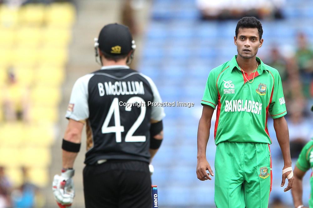 Shafiul Islam reacts after being hit to the boundary during the ICC World Twenty20 Pool match between New Zealand and Bangladesh held at the  Pallekele Stadium in Kandy, Sri Lanka on the 21st September 2012<br /> <br /> Photo byRon Gaunt/SPORTZPICS/PHOTOSPORT