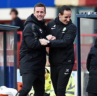 07/02/15 WILLIAM HILL SCOTTISH CUP 5TH RND<br /> DUNDEE v CELTIC<br /> DENS PARK - DUNDEE<br /> Celtic manager Ronny Deila (left) celebrates with John Kennedy as his side take a 0-2 lead