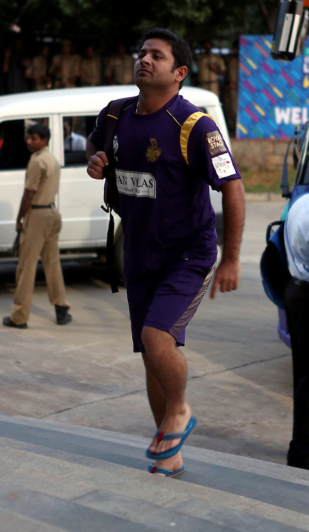 Piyush Chawla of Kolkata Knight Riders walks in before the match 1 of the Oppo Champions League Twenty20 between the Kolkata Knight Riders and the Chennai Superkings held at the Rajiv Gandhi Cricket Stadium, Hyderabad, India on the 17th September 2014<br /> <br /> Photo by:  Sandeep Shetty / Sportzpics/ CLT20<br /> <br /> <br /> Image use is subject to the terms and conditions as laid out by the BCCI/ CLT20.  The terms and conditions can be downloaded here:<br /> <br /> http://sportzpics.photoshelter.com/gallery/CLT20-Image-Terms-and-Conditions-2014/G0000IfNJn535VPU/C0000QhhKadWcjYs