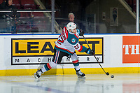 KELOWNA, CANADA - JANUARY 30:  Matt Barberis #22 of the Kelowna Rockets takes a shot against the Seattle Thunderbirds on January 30, 2019 at Prospera Place in Kelowna, British Columbia, Canada.  (Photo by Marissa Baecker/Shoot the Breeze)