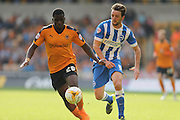 Wolverhampton Wanderers midfielder Sheyi Ojo and Brighton central midfielder, Dale Stephens during the Sky Bet Championship match between Wolverhampton Wanderers and Brighton and Hove Albion at Molineux, Wolverhampton, England on 19 September 2015.