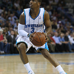 18 February 2009: New Orleans Hornets guard Chris Paul (3) prepares to shoot during a 117-85 win by the New Orleans Hornets over the Orlando Magic at the New Orleans Arena in New Orleans, Louisiana.