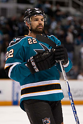 May 2, 2010; San Jose, CA, USA;  San Jose Sharks defenseman Dan Boyle (22) before game two of the western conference semifinals of the 2010 Stanley Cup Playoffs against the Detroit Red Wings at HP Pavilion.  San Jose defeated Detroit 4-3. Mandatory Credit: Jason O. Watson / US PRESSWIRE