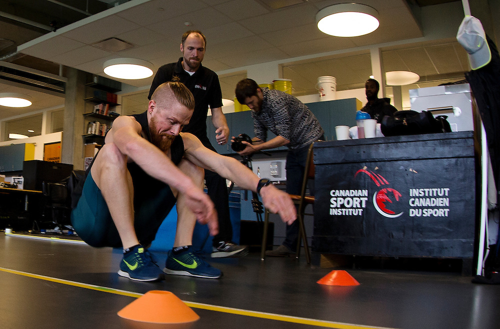 Geoffrey Harris does a two legged triple broad jump for distance which highly correlates to sprint speed at the Pacific Institute for Sport Excellence on December 3rd, 2015 in Victoria, British Columbia Canada.