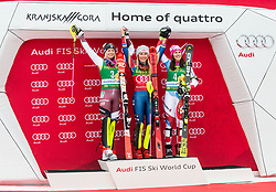 "Second placed Frida Hansdotter (SWE), winner Mikaela Shiffrin (USA) and third placed Wendy Holdener (SUI) celebrate during trophy ceremony after the 2nd Run of the FIS Alpine Ski World Cup 2017/18 7th Ladies' Slalom race named ""Golden Fox 2018"", on January 7, 2018 in Podkoren, Kranjska Gora, Slovenia. Photo by Ziga Zupan / Sportida"