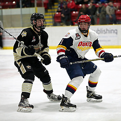 WELLINGTON, ON - JANUARY 18: Dylan McMahon #12 of the Trenton Golden Hawks and Brett Humberstone #9 of the Wellington Dukes in the second period on January 18, 2019 at Wellington and District Community Centre in Wellington, Ontario, Canada.<br /> (Photo by Ed McPherson / OJHL Images)