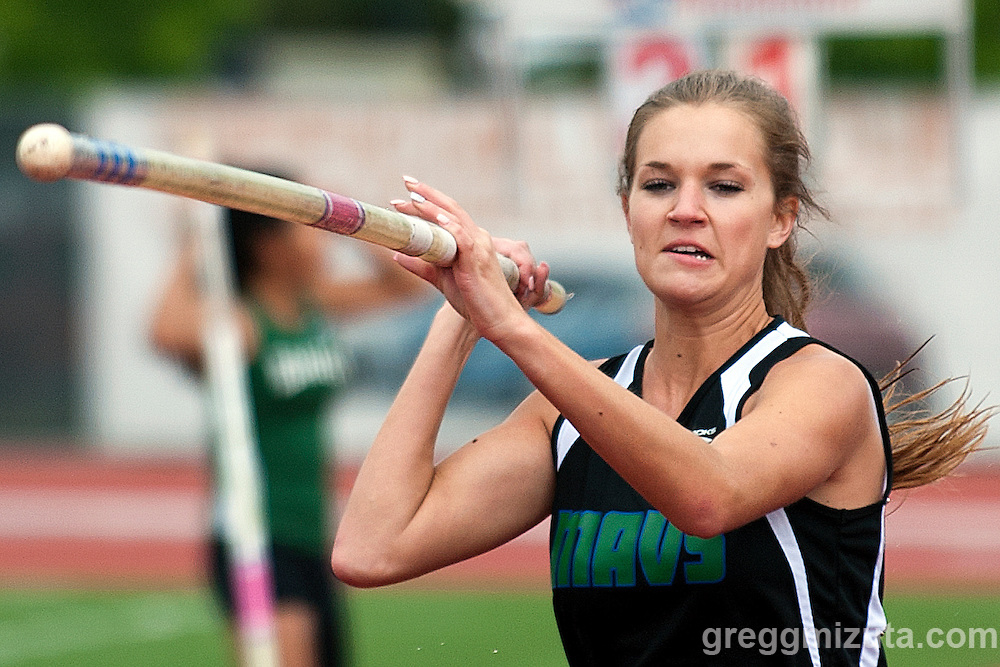 Mountain View senior Hunter Lee competes in the 5A pole vault competition during the Idaho High School Track & Field State Championships at Dona Larson Park, Boise, Idaho. May 15, 2015. Lee finished fifth with a height of 10-06.