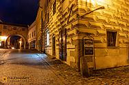 Narrow cobblestone streets in historic Cesky Krumlov, Czech Republic