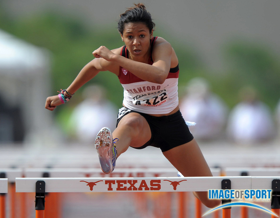 Mar 30, 2012; Austin, TX, USA; Amber Farrell of Stanford runs 14.47 in a womens 100m hurdle heat in the 85th Clyde Littlefield Texas Relays at Mike A. Myers Stadium.