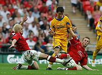 Photo: Steve Bond/Richard Lane Photography. <br /> Ebbsfleet United v Torquay United. The FA Carlsberg Trophy Final. 10/05/2008. Elliott Benyon (C) tries to burst between 2 defenders