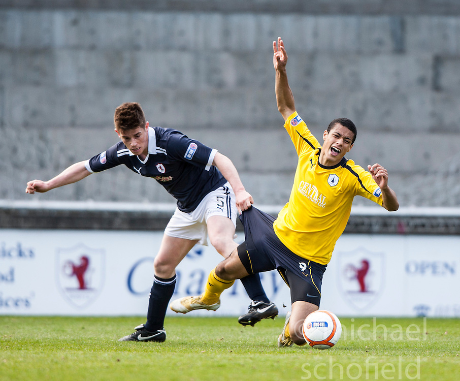 Raith Rovers Douglas Hill and Falkirk's Lyle Taylor..Raith Rovers 0 v 0 Falkirk, 27/4/2013..© Michael Schofield.