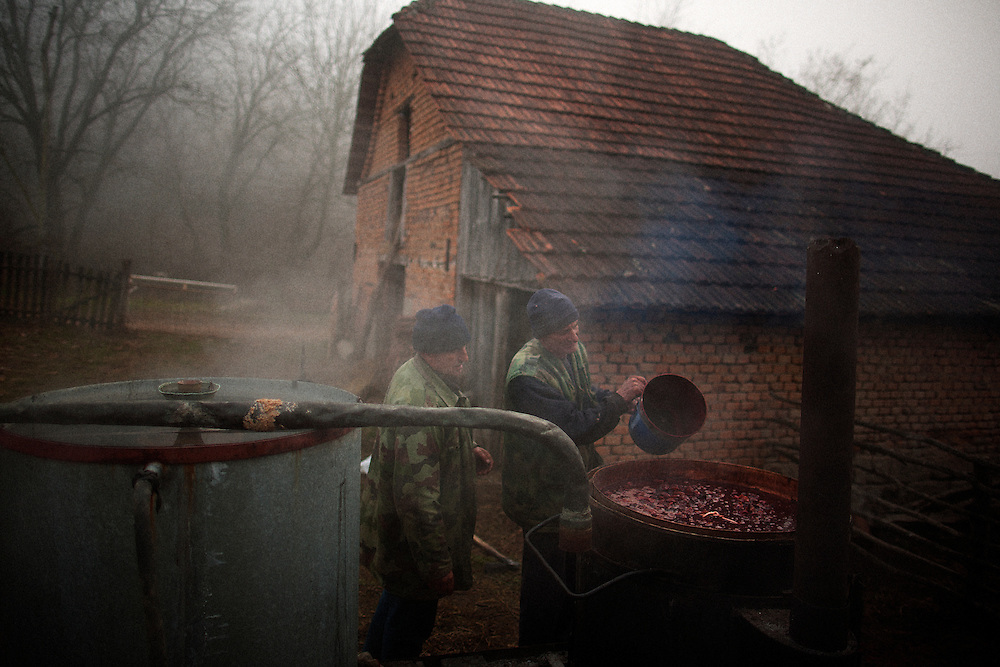 Rakija Production in Trudelj, Serbia in late November 2011.