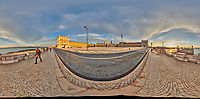 Comércio Plaza (Praça do Comércio). 360 Degree Panorama. Composite of 31 images taken with a Nikon D850 camera and 8-15 mm fisheye lens (ISO 200, 15 mm, f/11, 1/60 sec). Raw images processed with Capture One Pro and Auto Pano Giga.