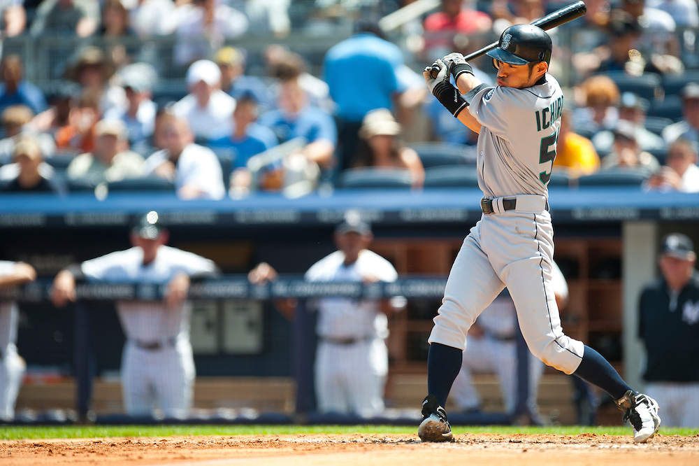 NEW YORK - JULY 27: Ichiro Suzuki #51 of the Seattle Mariners bats  during the game against the New York Yankees at Yankee Stadium on July 27, 2011 in the Bronx borough of Manhattan. (Photo by Rob Tringali) *** Local Caption *** Ichiro Suzuki