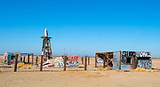 Graffiti Covered Wood Sheds in Salton Sea