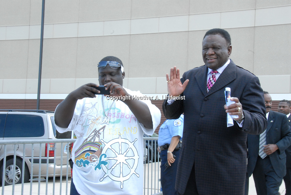 16 August 2008 - Chicago, Illinois -  George Wallace,.Comedian with rapper LaVert Jones.Bernie Mac Public Memorial.Venue: House of Hope, 752 E 114th St, Chicago, IL, 12pm. Photo Credit: Heather A. Lindquist/Sipa.