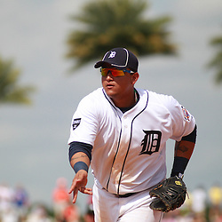 March 9, 2011; Lakeland, FL, USA; Detroit Tigers first baseman Miguel Cabrera (24) tosses the ball to the pitcher at first base to get an out during a spring training exhibition game against the Philadelphia Phillies at Joker Marchant Stadium.   Mandatory Credit: Derick E. Hingle