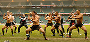 Twickenham, England. New Zealand, NZ, winners of the Cup Final, defeating Fiji, in the final perform the HAKA after the presentation, at the London Sevens Rugby, Twickenham Stadium, Sun, 27/05/2007 [Credit Peter Spurrier/ Intersport Images]