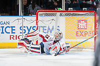 KELOWNA, CANADA - OCTOBER 31: Jayden Sittler #33 of the Lethbridge Hurricanes makes a first period save against the Kelowna Rockets on October 31, 2015 at Prospera Place in Kelowna, British Columbia, Canada.  (Photo by Marissa Baecker/Shoot the Breeze)  *** Local Caption *** Jayden Sittler;