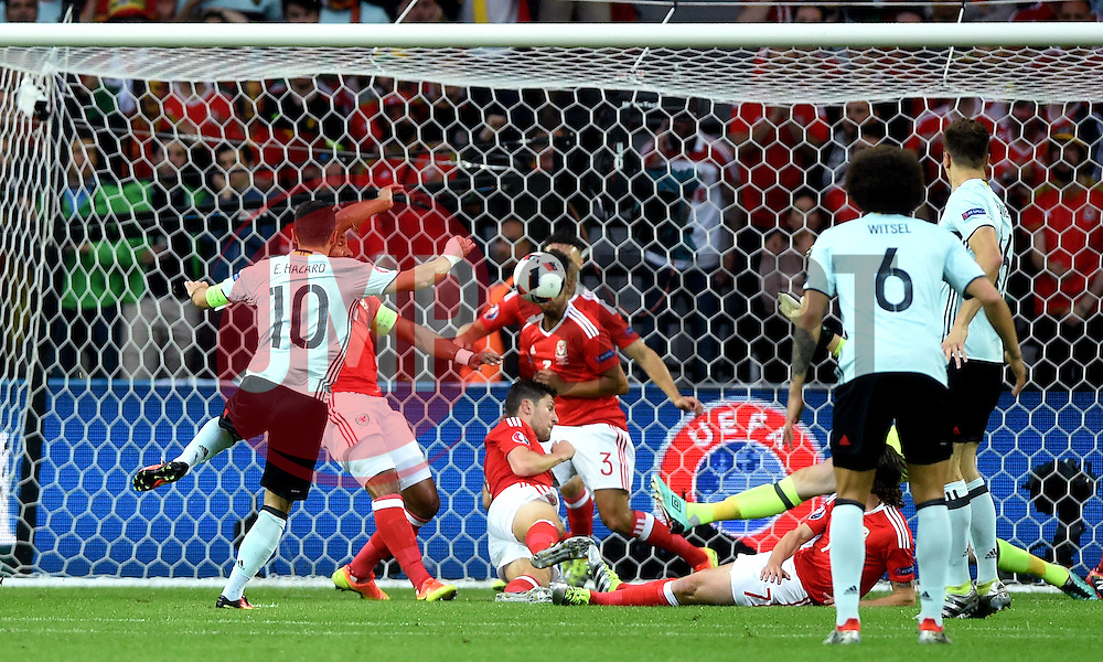 Ben Davies of Wales blocks the shot of Eden Hazard of Belgium  - Mandatory by-line: Joe Meredith/JMP - 01/07/2016 - FOOTBALL - Stade Pierre Mauroy - Lille, France - Wales v Belgium - UEFA European Championship quarter final