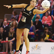 Liana Leota, New Zealand, in action during the New Zealand V England, New World International Netball Series, at the ILT Velodrome, Invercargill, New Zealand. 6th October 2011. Photo Tim Clayton...