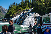 An attractive waterfall in Tracy Arm Fjord seen on a day cruise from Juneau, Alaska, USA. To visit Tracy Arm Fjord and South Sawyer Glacier from Juneau, we highly recommend the smoothly stabilized day cruise aboard the 56-foot boat Adventure Bound. This journey to the heart of Tracy Arm-Fords Terror Wilderness (Tongass National Forest) rivals Norwegian fjords and adds a punchbowl of icebergs from the spectacular South Sawyer Glacier, which calved ice into the tidewater with a rumble and a splash. Whales, bears, sea lions and other wildlife showed up along the way. The fjord twists narrowly 30 miles into the coastal mountains, with peaks jutting up to a mile high, draped with tumbling waterfalls. To license this Copyright photo, please inquire at PhotoSeek.com.