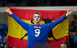 LONDON, ENGLAND - Sunday, February 6, 2011: A Chelsea supporter waring a Fernando Torres shirt and holding a Spanish flag during the Premiership match against Liverpool at Stamford Bridge. (Photo by David Rawcliffe/Propaganda)