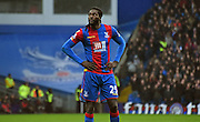 Emmanuel Adebayor watches on during the Barclays Premier League match between Crystal Palace and Watford at Selhurst Park, London, England on 13 February 2016. Photo by Michael Hulf.