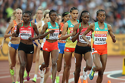 London, August 13 2017 . The women's 5000m final is led by Almaz Ayana, Ethiopia, on day ten of the IAAF London 2017 world Championships at the London Stadium. © Paul Davey.