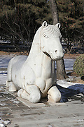 China, Beijing, Ming Dynasty Tombs, Changling Tomb, statues of a horse lining the sacred way