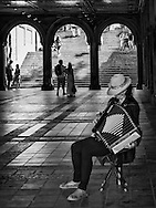 Accordion player Weili Xiao at Bethesda Terrace in Central Park