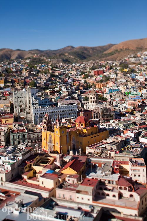 View of Basilica de Nuestra Señora and Guanajuato, Mexico from El Pepila Monument above.