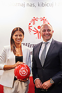 Warsaw, Poland - 2016 August 30: (L) Anna Lewandowska President of Special Olympics Poland and (R) Krzysztof Lewandowski President EUCO Company main sponsor of Special Olympics Poland pose to the picture during press conference Special Olympics Poland at Marriott Champions Bar on August  30, 2016 in Warsaw, Poland.<br /> <br /> Adam Nurkiewicz declares that he has no rights to the image of people at the photographs of his authorship.<br /> <br /> Picture also available in RAW (NEF) or TIFF format on special request.<br /> <br /> Any editorial, commercial or promotional use requires written permission from the author of image.<br /> <br /> Mandatory credit:<br /> Photo by © Adam Nurkiewicz