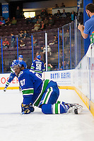 PENTICTON, CANADA - SEPTEMBER 16: Jordan Subban #67 of Vancouver Canucks stretches on the ice against the Edmonton Oilers fall on September 16, 2016 at the South Okanagan Event Centre in Penticton, British Columbia, Canada.  (Photo by Marissa Baecker/Shoot the Breeze)  *** Local Caption *** Jordan Subban;