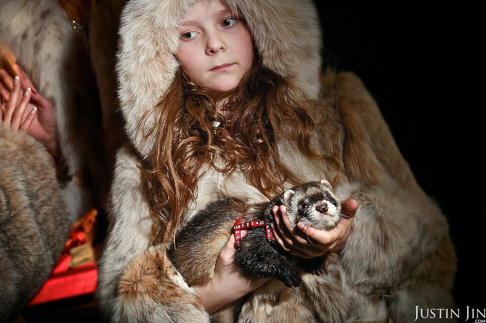 Sophia, 9, holds her rodent which she parades on the catwalk at the Millionaire Fair in Moscow. The fashion show is organised by her mother, the Russian fur designer Julia Helen. .Millionaires, billionaires and those who bought 1,000-rouble tickets were among the thousands who visited the fair held in the Crocus city expo centre. .The four-day event, held for the second year in a row, ended on October 30. The products on sale include a diamond-studded mobile phone worth a million dollars, an island, latest sports cars and other items that might appeal to the growing millionaire market..Twenty years ago, there were no official millionaires in the whole of Russia. Now Moscow has 25 billionaires and the country has 88,000 millionaires, according to Forbes Magazine. ..