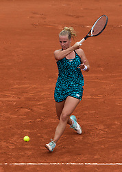 May 29, 2018 - Paris, France - Richel Hogenkamp of Netherland returns the ball to Maria Sharapova of Russia during the first round at Roland Garros Grand Slam Tournament - Day 3 on May 29, 2018 in Paris, France. (Credit Image: © Robert Szaniszlo/NurPhoto via ZUMA Press)