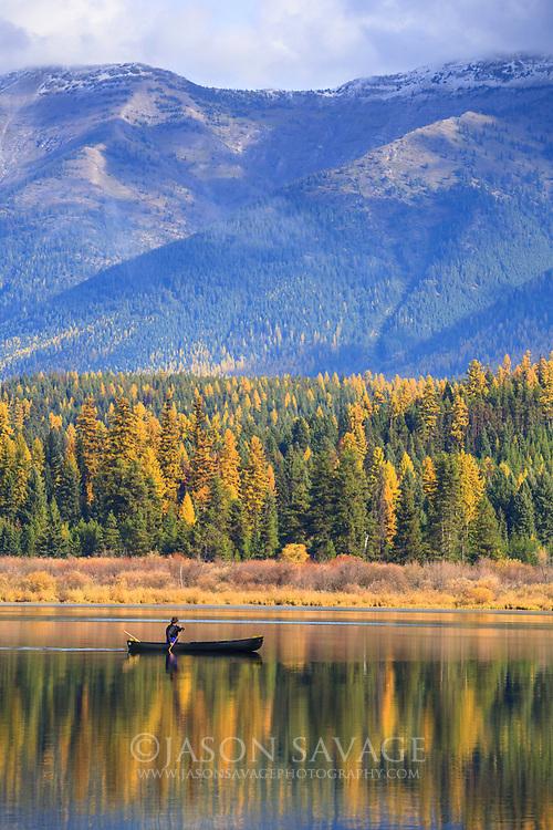 Paddling on Rainy Lake, Montana.
