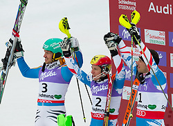 17.02.2013, Planai, Schladming, AUT, FIS Weltmeisterschaften Ski Alpin, Slalom, Herren, 2. Durchgang, im Bild Felix Neureuther (GER, 2. Platz), Marcel Hirscher (AUT, 1. platz), Mario Matt (AUT, 3. Platz) // 2nd place Felix Felix Neureuther of Germany, 1st place Marcel Hirscher of Austria and 2nd place Mario Matt of Austria reacts after his 2nd run of the mens Slalom at the FIS Ski World Championships 2013 at the Planai Course, Schladming, Austria on 2013/02/17. EXPA Pictures © 2013, PhotoCredit: EXPA/ Johann Groder