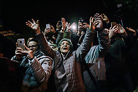 POMIGLIANO D'ARCO, ITALY - 6 MARCH 2018: Fellow citizens and supporters of Luigi Di Maio, leader of the Five Star Movement who returned to his his hometown to celebrate the movement's victory in the 2018 Italian General Elections, photograph and greet the leader as he leaves the celebration event in Pomigliano D'Arco, Italy, on March 6th 2018.<br /> <br /> The Five-Star Movement, became the first party in Italy, with 33 percent of the vote.