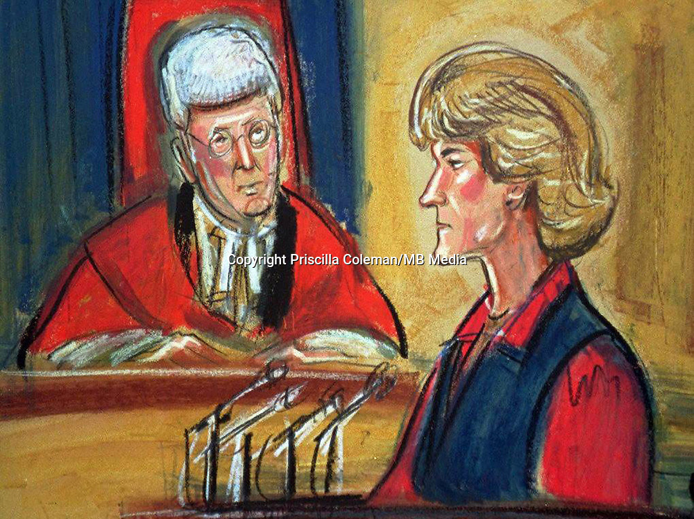Artist's impression by Priscilla Coleman of Elizabeth Brewer during the trial of Rose West at Winchester Crown Court. Rose West was convicted of 10 murders at Winchester Crown Court in November 1995 and is serving life in Holloway prison in north London.