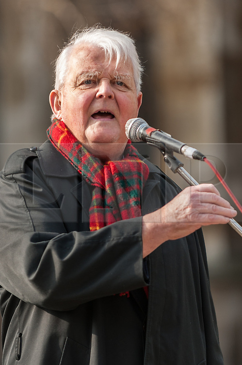 © Licensed to London News Pictures. 12/03/2016. London, UK.  Bruce Kent, vice president of the Campaign for Nuclear Disarmament, speaks at a rally held outside the Houses of Parliament in Westminster to recognise the fifth anniversary of the Fukushima nuclear disaster in Japan and to protest against the Japanese government's plans to restart the Sendai nuclear plant. Photo credit : Stephen Chung/LNP