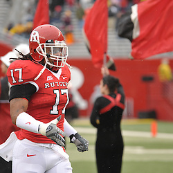 Dec 5, 2009; Piscataway, NJ, USA; Rutgers linebacker Damaso Munoz (17) takes the field for the senior ceremony before during first half NCAA Big East college football action between Rutgers and West Virginia at Rutgers Stadium.