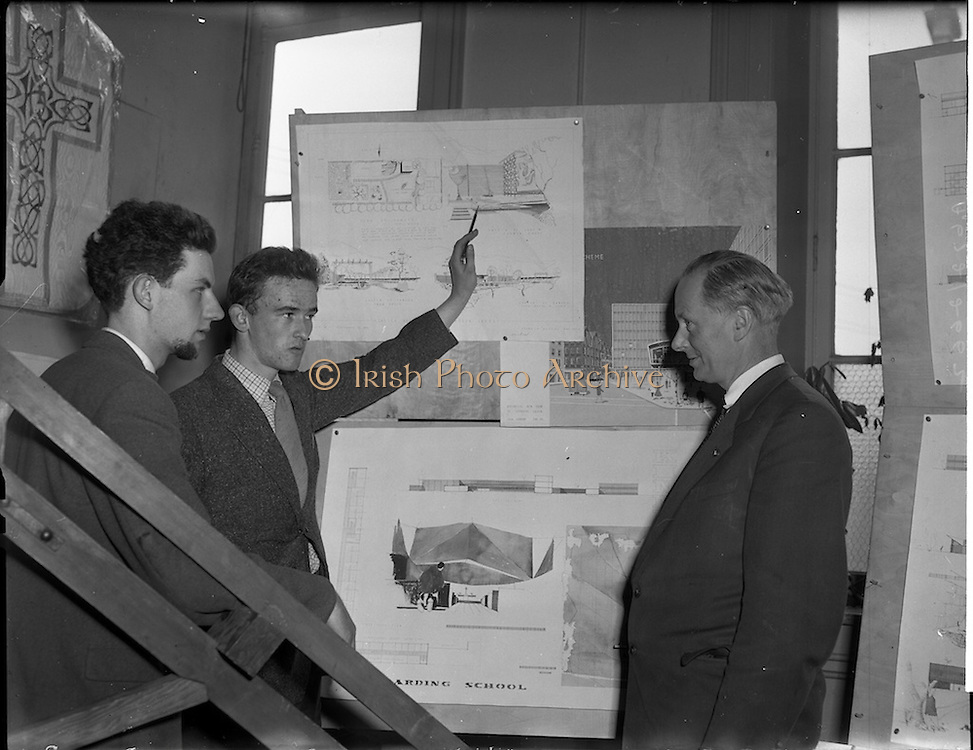 05/05/1958<br /> 05/05/1958<br /> 05 May 1958<br /> College of Technology exhibition at Bolton Street, Dublin. Students show off their work and drawings.