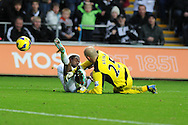 Swansea city's Nathan Dyer collides with Liverpool keeper Pepe Reina. Barclays Premier league, Swansea city v Liverpool at the Liberty Stadium in Swansea , South Wales on Sunday 25th November 2012. pic by Andrew Orchard, Andrew Orchard sports photography,